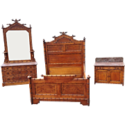 3 Piece Faux Bamboo Marble Top Bedroom Set