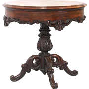 19th c. Rosewood Rococo Marble Top Table