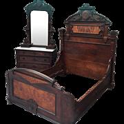 19th c. Renaissance Walnut and Burl Marble Top 2 Piece Bedroom Set