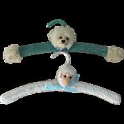 Rare Pair of Nursery Hangers, Teddy & Monkey