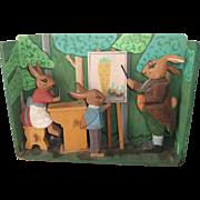 Vintage German Rabbit School Scene with Carved Rabbits