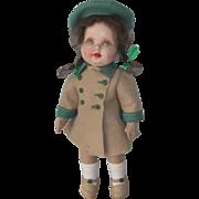 Dean's Rag Book Girl Doll with Composition Face, Felt Limbs & Cloth Body