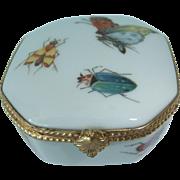Vintage Limoges Porcelain Trinket Box Hand Painted with Butterflies, Ladybug etc