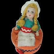 Cute Vintage 'Dutch' Doll Pin Cushion & Tape Measure