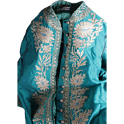 a Maison De L'artisan Lebanon High Quality Made Dress Turquoise Green with Gold wire