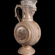 Ex Rare Early German Salt Glaze Stoneware Steinzeug Water or Wine Pitcher 1600s