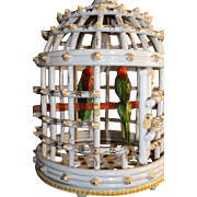 Collector's item Wow a Lovely , Large French Faience Hanging Bird Cage Lamp