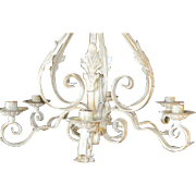 Lovely And Large Wrought Iron Venetian 6 Candle Chandelier 1900s