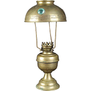 A Rare Small French Antique Oil Lamp With A Brass Stone Inlaid Shade