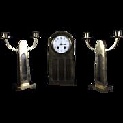 Lovely Dutch Art Nouveau 3 Piece Brass Clock Set