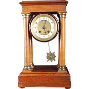 Wow A Rare And Lovely French Antique Mahagony Column Clock