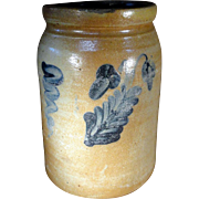 19th Century Blue Decorated SE Pennsylvania Stoneware Canning Crock