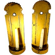 19th C. Tin Candle Sconces in Old Yellow Paint