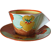 Clarice Cliff Nasturtium Teacup and Saucer Solid Conical Shape