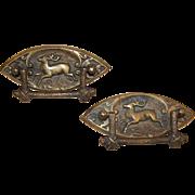 Rare, Original Circa 1900 Pair Brass Drawer Pulls, Running Deer in Raised Relief