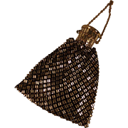 Vintage Whiting & Davis Black & Gold Metal Mesh Evening Bag w/ Gate Top Closure