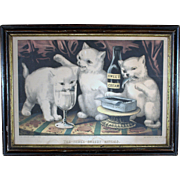Currier & Ives / The Three Greedy Kitties / At The Feast/ 1871/ Guaranteed Original Hand ...