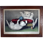 Currier & Ives / My Little White Kitties / Playing Ball /Guaranteed Original