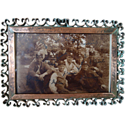 Vintage 1930s Hand crafted Copper finish metal Photo Frame