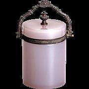 French Pink Opaline Glass Box with Bronze Ormolu Mounts Flexible Handle