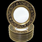 Rosenthal 'Continental 5442' Porcelain Gold Encrusted Raised Gilt Enamel Cobalt Dinner Plate .