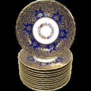 Set of Twelve William Guerin & Co. Limoges Cobalt Porcelain Dinner Plates