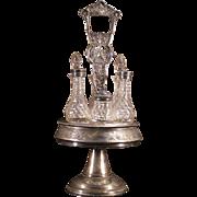 1800's Victorian Silver Brilliant Cut Glass Castor Bottle Cruet Set Bird Holder