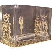 ~19c Empire French Crystal Dore Bronze Baccarat Dish Holder Letter Card Box~