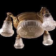 Antique Etched Iridescent Glass Hanging Brass Pan Lamp Light Fixture Chandelier~