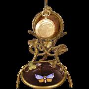 Antique Pocket Watch Holder Enamel Moser Glass Dresser Dish Trinket Jewelry Tray