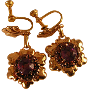 SALE Vintage 1940's Earrings with Amethyst Glass