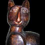SALE Folk Art  Cat Carved Wood