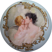SOLD Superb Elite Limoges Large Powder Jar; Featuring a Gorgeous Rendition of  'The Forbidden