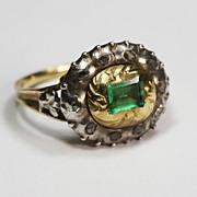Splendid Georgian Emerald Diamond Ring 18th Century