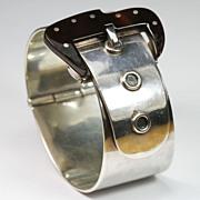 Striking Mexican Silver Buckle Bangle Bracelet