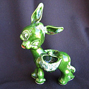 Adorable Vintage Green Pack Saddle Burro Donkey Ceramic Planter
