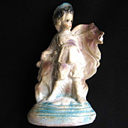 SALE Rare Chalkware Isaac and the Ram from the Bible Circa 1920