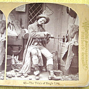 "1876 ""Trials of Single Life"" Humorous Stereoscopic Card by Melander"