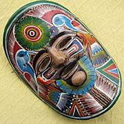Vintage Terra Cotta Folk Art Pottery Mask from Mexico