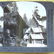 Stereoscopic Card of the Little Stave Church of Gol / Oslo, Norway