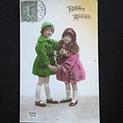 1940s French Children Rex Postcard Bonne Annee Happy New Year