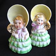 Vintage Ceramic Southern Belles Salt & Pepper Shakers Japan