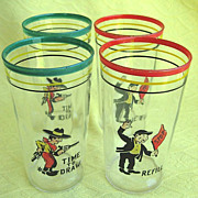 Set of 4 Vintage Bar Cocktail Glasses with Colorful Comic Themes