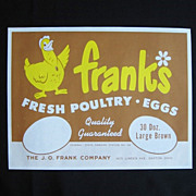Joe O. Frank's Poultry Company Egg Crate Label Dayton Ohio