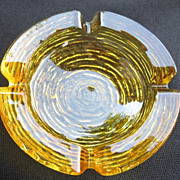 Anchor Hocking Soreno Glass Ashtray Gold Amber