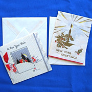 Two Unsent 1930s Hallmark New Year Greeting Cards