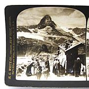 1903 Swiss Matterhorn Stereoscopic Card H.C. White
