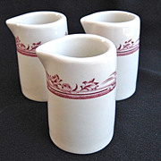 """3 Vintage Mayer China Wellington """"True Ivory"""" Individual Creamers or Syrups"""