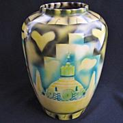 Modernist Mexico Theme Stylized  Pottery Art Vase