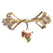 Vintage Lillian Vernon Gold Tone Bow & Locket Brooch Pin